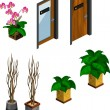 Stock Vector: Flower, Plant and Door for Isometric
