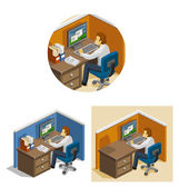Working On the Computer Isometric — Stock Vector