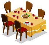 Family Gathering on Dinner — Stock Vector