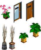 Flower, Plant and Door for Isometric — Stock Vector
