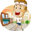 Jogging in the city - Stock Vector
