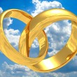 Stock Photo: Gold wedding rings.