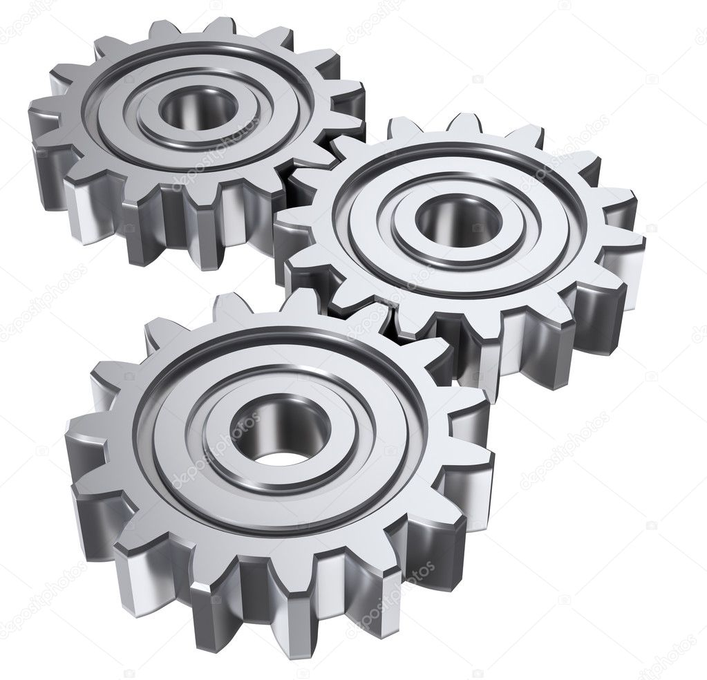 Isolated astract gears. 3D illustration. — Stock Photo #1584899
