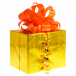 Stock Photo: Box gift golden