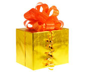 Box gift golden — Stock Photo