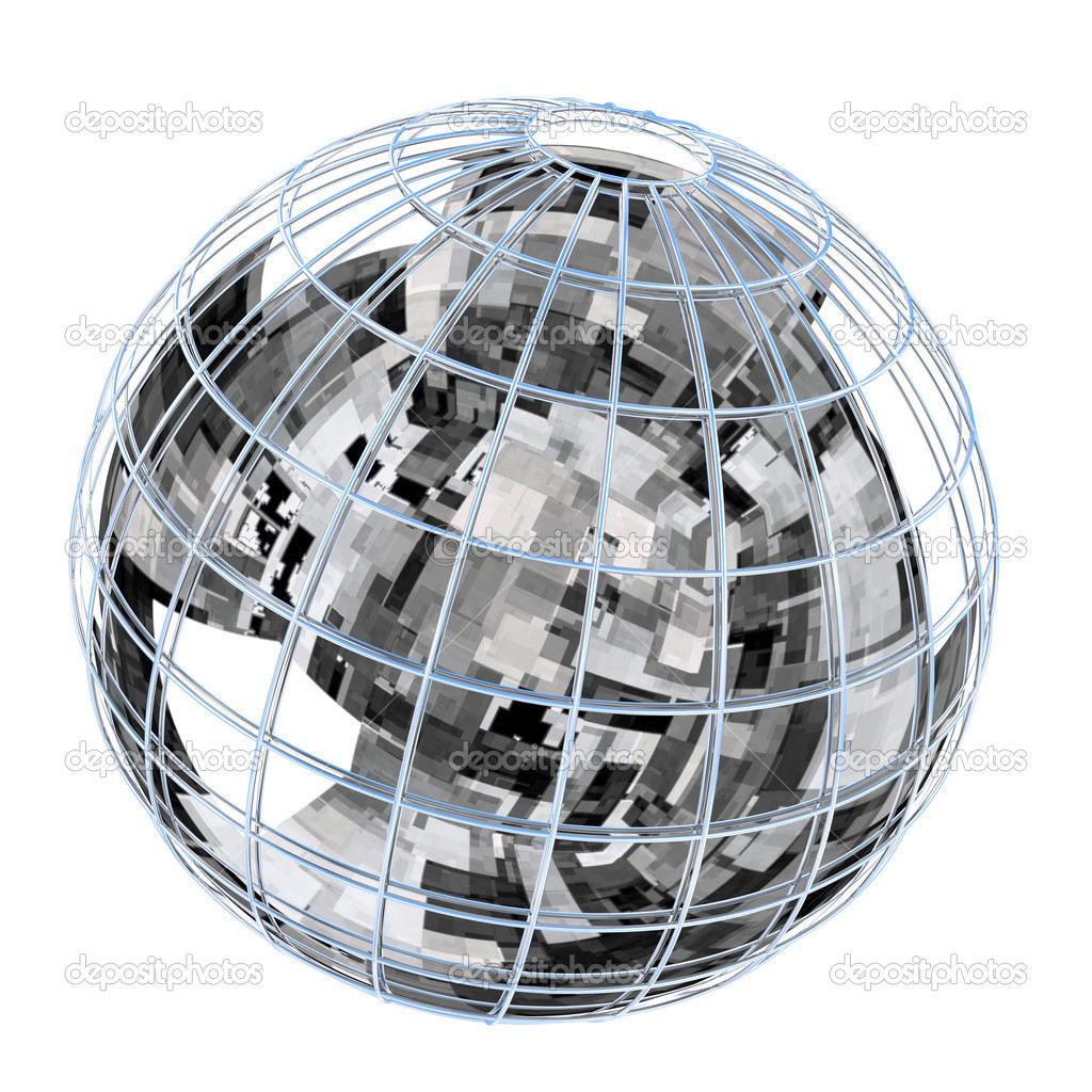 Globe with reflection of  high technologies abstraction. — Stock Photo #1594208