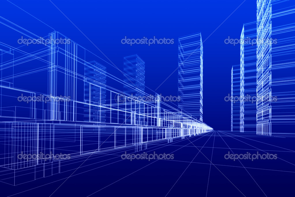 3D rendering wireframe of office buildings, blue background. Concept - modern city, modern architecture and designing. — Stock Photo #1948791