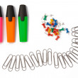 Stock Photo: Office accessories. Markers, paper clips