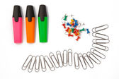 Office accessories. Markers, paper clips — Stok fotoğraf