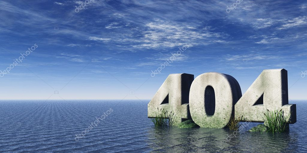 The number 404 at the ocean under cloudy blue sky - 3d illustration — Stock Photo #1519030