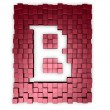 Red cubes makes the letter b — Stock Photo