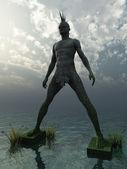Kámen punkové pomník v oceánu - 3d ilustrace — Stock fotografie