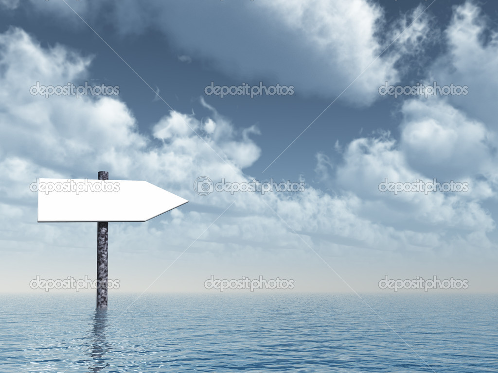Arrow sign at the ocean - 3d illustration  Stock Photo #1575241