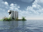 The number seventy - 70 - at the ocean - 3d illustration — Stock Photo