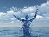 Figura humana asciende hacia arriba de la ilustración 3d - agua — Foto de Stock