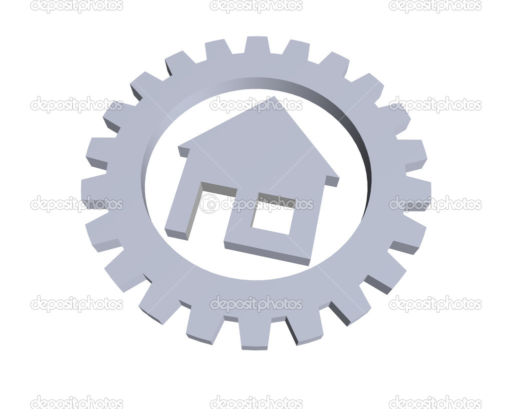 House symbol in a gear wheel - 3d illustration — Stock Photo #1598349