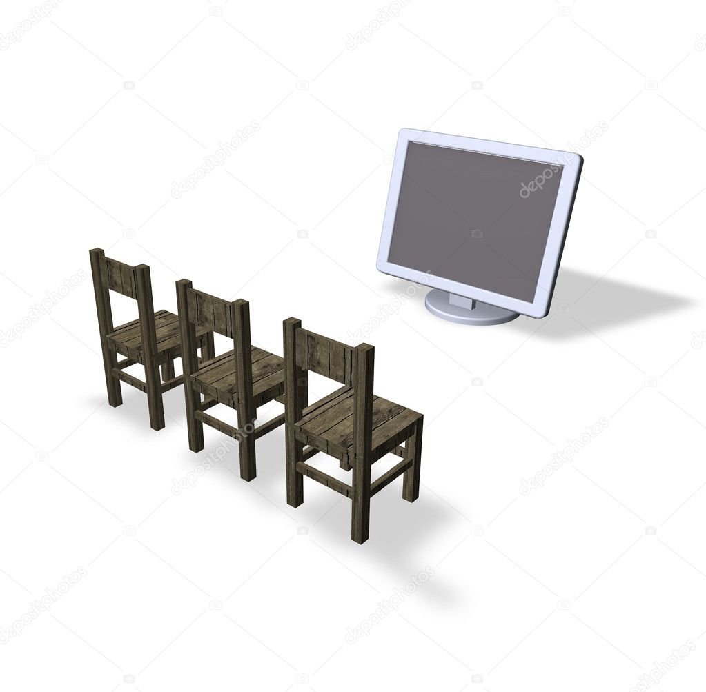 Three chairs and a computer monitor  Stock Photo #1623809