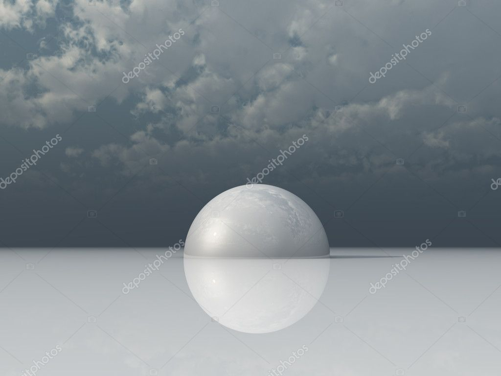 White hemisphere under dark cloudy sky - 3d illustration — Stock Photo #1635443