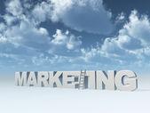 La comercialización de palabra y una escalera frente azul cielo ilustración 3d — Foto de Stock