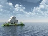 Stone cloverleaf at the ocean - 3d illustration — Stock Photo