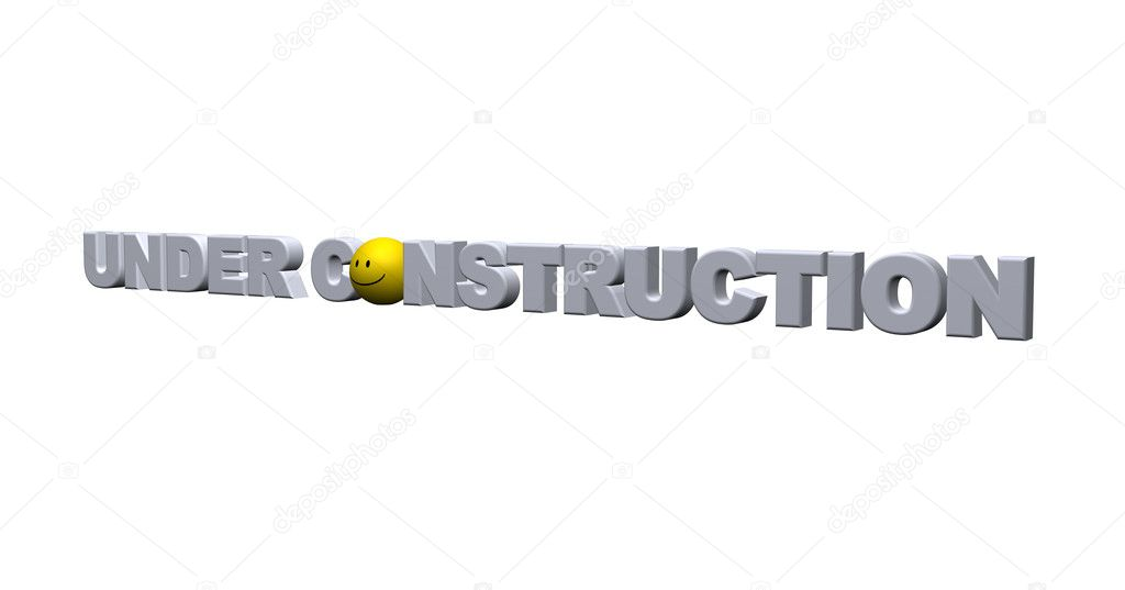 The words under construction with smiley - 3d illustration — Stock Photo #1770782