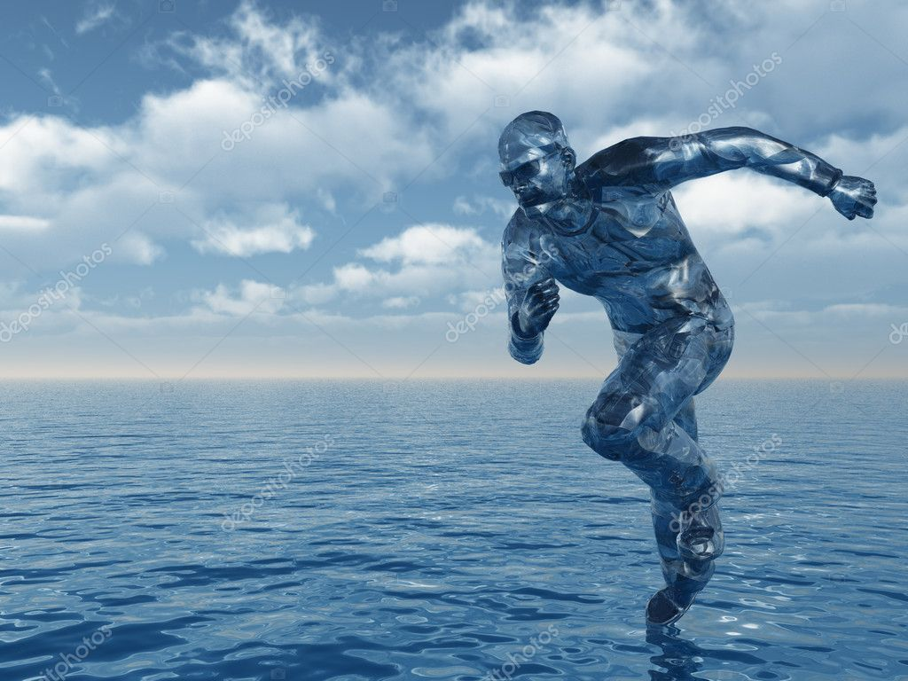 Liquid man runs over the ocean - 3d illustration  Stock Photo #1780453