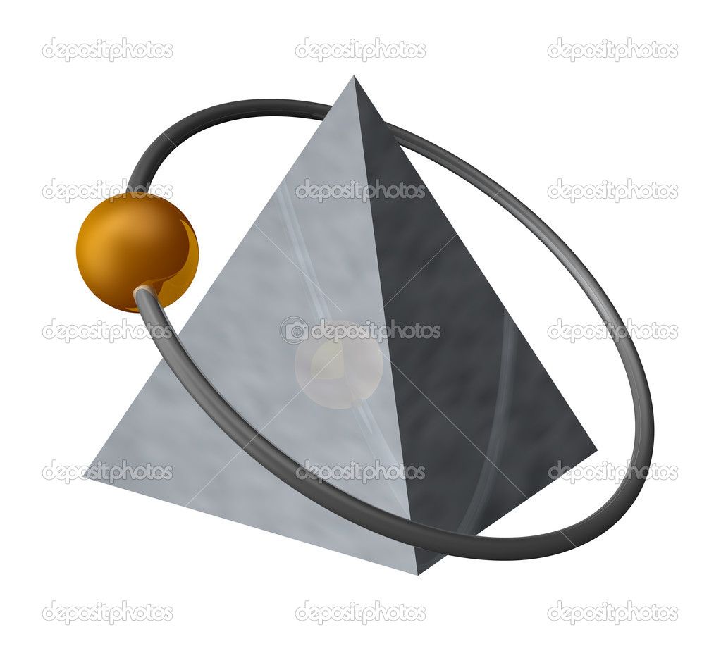 Golden ball fly around a metal pyramid - 3d illustration — Foto Stock #1789138