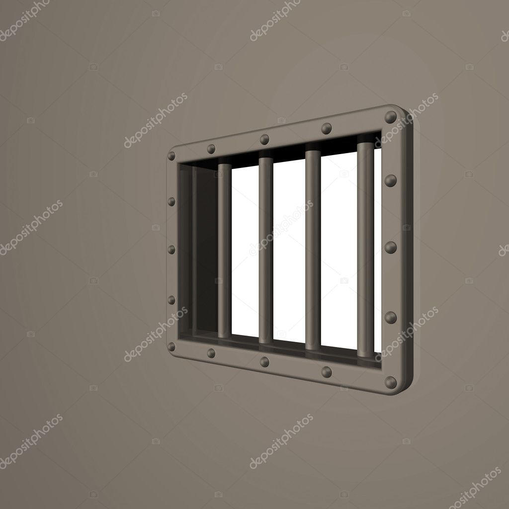 Riveted steel prison window - 3d illustration — Stock Photo #2312907