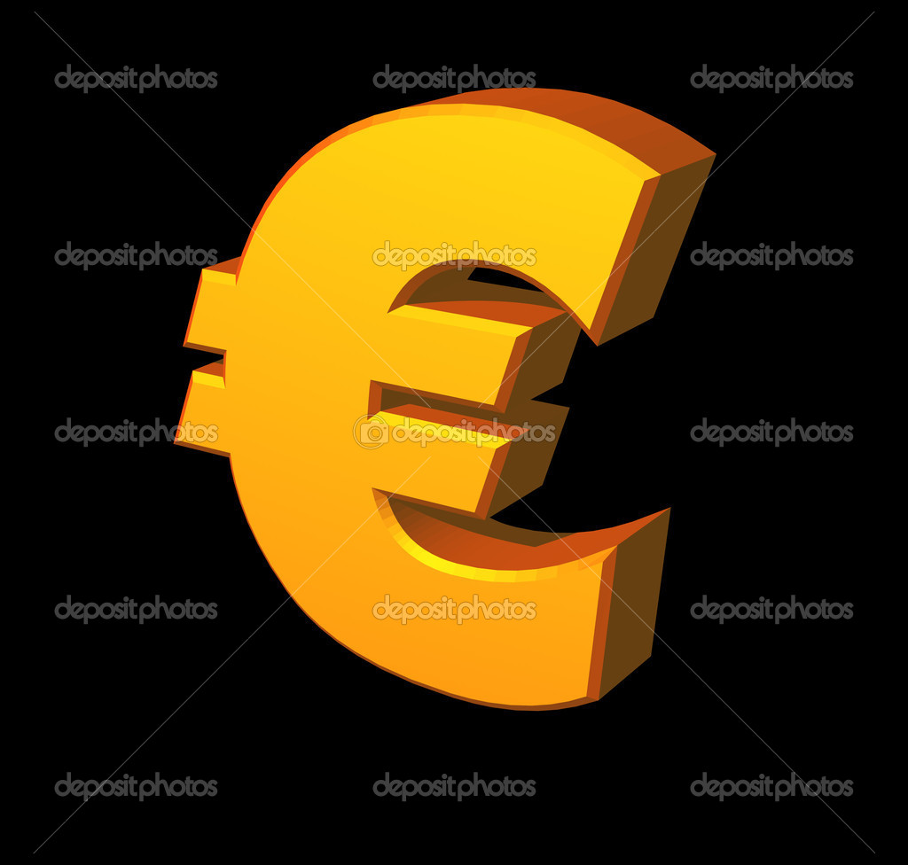Golden euro sign on black background - 3d illustration — Stock Photo #2400397