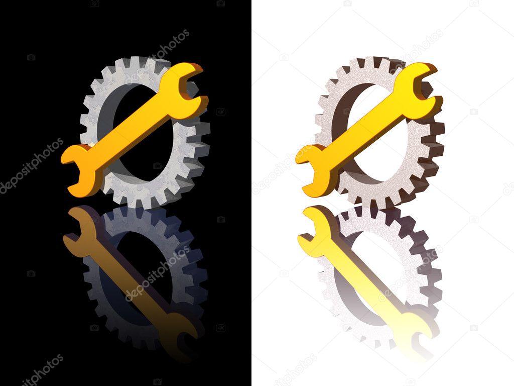 扳手和齿轮徽标上黑色和白色背景-3d 图— 照片作者 drizzd