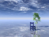 Tree and chair — Stock Photo