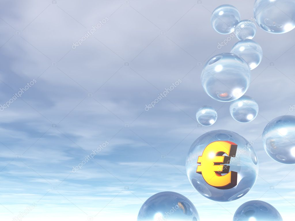 Bubbles and golden euro sign - 3d illustration — Stock Photo #2586306