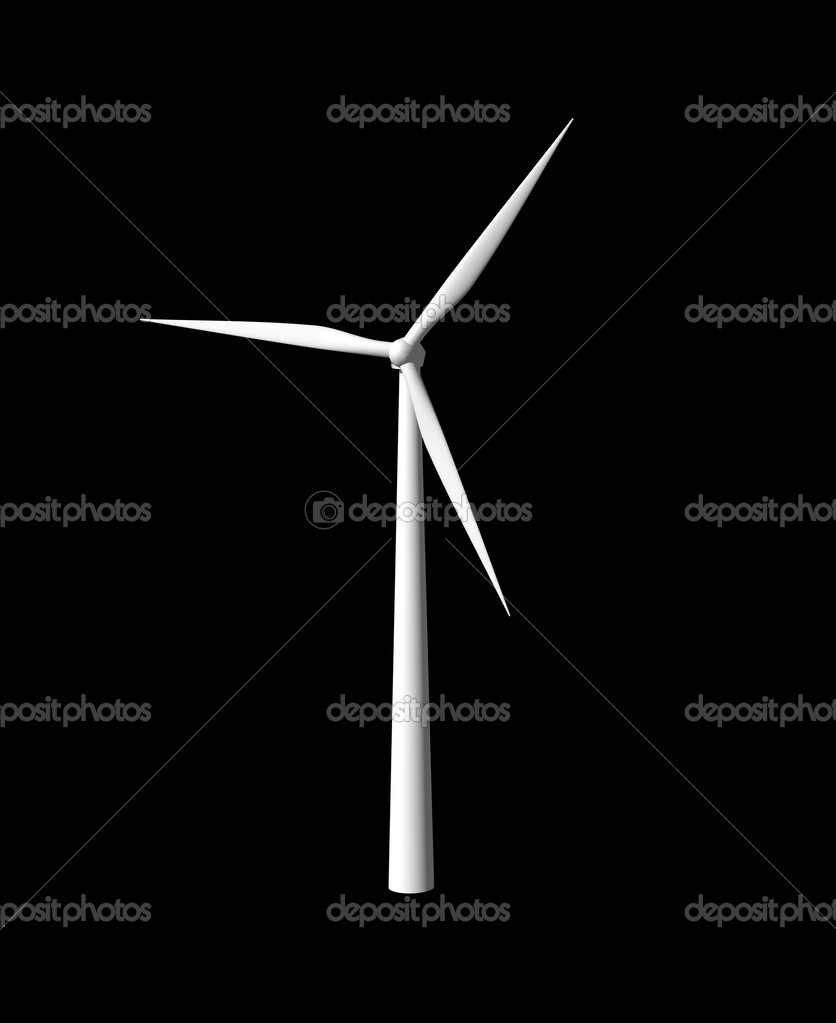 Wind mill on black background - 3d illustration — Stock Photo #2589246