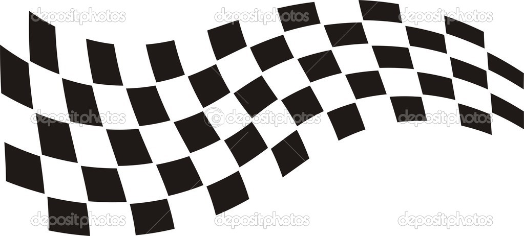 Stock Illustration Racing Flag on new white car