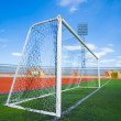 STADIUM - Football field with goal - Stock Photo