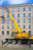 Heavy mobile crane truck — Stock Photo