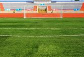 STADIUM - Football field with goal — Stock Photo