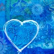 Blue heart on collage background — Foto de Stock