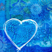 Blue heart on collage background — Stock Photo