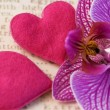 Orchid flower and hearts — Stock Photo
