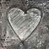 Painted heart gray and black — Stock Photo
