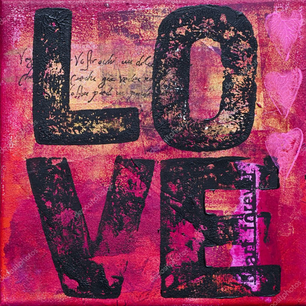 Painting with word love, artwork is created and painted by myself — Stock Photo #1868067