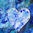Blue abstract painting with heart — Stock Photo