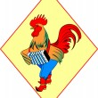 The cock in boots with an accordion - Stock Vector