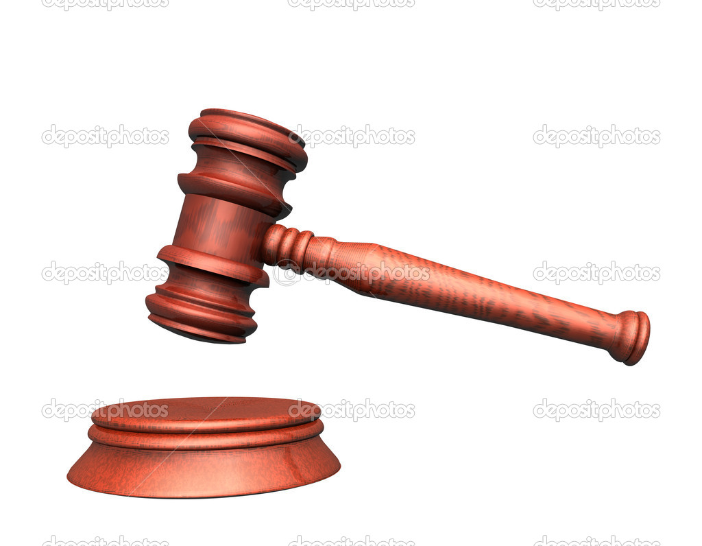 3d illustration looks mallet of judge.  Stock Photo #1524515