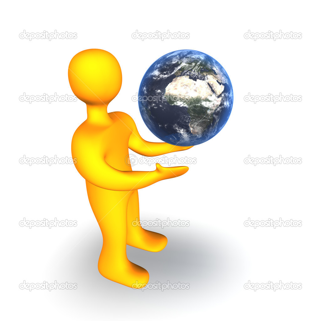 3d illustration looks human with a globe on the white background. — Stock Photo #1525012