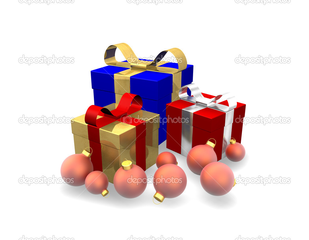 3d illustration looks gift in red and golden colors. — Stock Photo #1537985