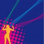 Blue Orange Girl Party Flyer — Stock Vector
