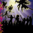 Stock Vector: Full Moon Beach Party