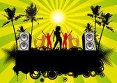 Retro Beach Party Flyer Ibiza — Stock Vector